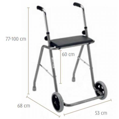 Andador de acero con asiento