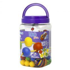 Bolas ensartables 25mm 100 bolas + 10 cordones - bote