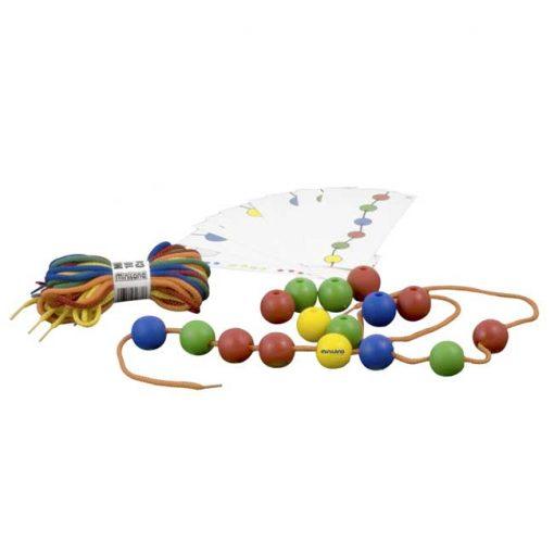 Bolas ensartables 25mm 100 bolas + 10 cordones - juego