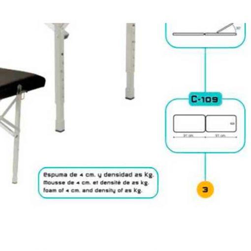Camilla de Aluminio Plegable Regulable en Altura detalle