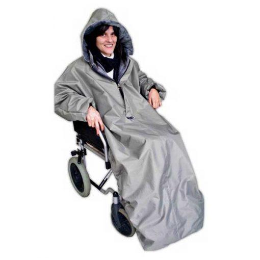 Capa anti frío con mangas para silla de ruedas