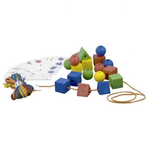 Formas ensartables 35mm 60 piezas 10 cordones - conjunto