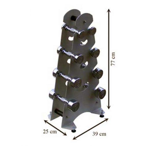 Mancuernas con soporte de metal medidas