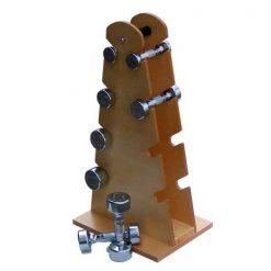 Mancuernas con soporte de madera