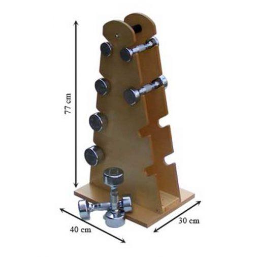 Mancuernas con soporte de madera medidas