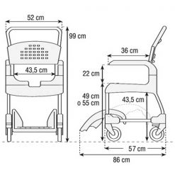 Silla ducha y wc clean etac - dimensiones